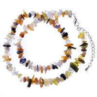 Necklace & Pendants - chip stone necklaces genuine topaz semi precious gemstone nugget chips stretch necklace Image.
