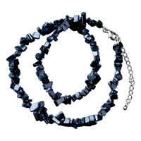 Necklace & Pendants - black onyx chip stone necklaces nugget chips stretch necklace Image.