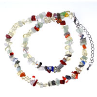 Necklace & Pendants - chip stone necklaces genuine colorful semi precious gemstone nugget chips stretch necklace Image.