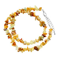 Necklaces - chip stone necklaces genuine pale green gemstone nugget chips stretch pendant necklace Image.