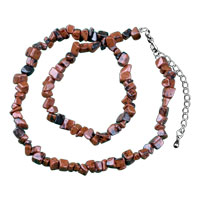 Necklace & Pendants - chip stone necklaces genuine dark brown semi precious gemstone nugget chips stretch necklace Image.