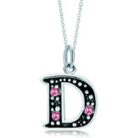 Necklace & Pendants - sterling silver pink crystal letter d link charm pendant necklaces sterling silver pendant Image.