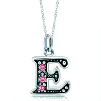 Sterling Silver Jewelry - 925  sterling silver rose pink crystal diamond accent letter e link charm for charms bracelet &  pendant necklace sterling silver pendant Image.