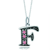 Sterling Silver Jewelry - sterling silver pink crystal letter f link charm pendant necklace sterling silver pendant Image.