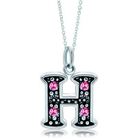 Sterling Silver Jewelry - sterling silver pink crystal letter h link charm pendant necklaces sterling silver pendant Image.