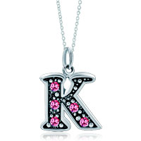 Necklace & Pendants - 925  sterling silver rose pink crystal diamond accent letter k link charm for charms bracelet &  pendant necklace sterling silver pendant Image.