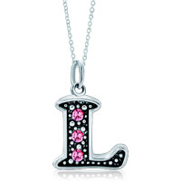 Necklace & Pendants - 925  sterling silver rose pink crystal diamond accent letter l link charm for charms bracelet &  pendant necklace sterling silver pendant Image.
