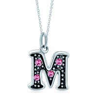 Necklace & Pendants - 925  sterling silver rose pink crystal diamond accent letter m link charm for charms bracelet &  pendant necklace sterling silver pendant Image.