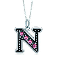 Necklace & Pendants - sterling silver pink crystal letter n link charm pendant necklaces sterling silver pendant Image.