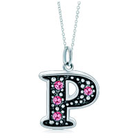 Necklace & Pendants - sterling silver pink crystal letter p link charm pendant necklaces sterling silver pendant Image.