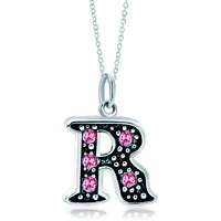 Necklace & Pendants - sterling silver pink crystal letter r link charm pendant necklaces sterling silver pendant Image.