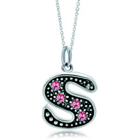 Necklace & Pendants - sterling silver pink crystal letter s link charm pendant necklaces sterling silver pendant Image.