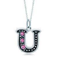 Necklace & Pendants - sterling silver pink crystal letter u link charm pendant necklaces sterling silver pendant Image.