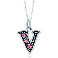 Sterling Silver Jewelry - sterling silver pink crystal letter v link charm pendant necklaces sterling silver pendant Image.