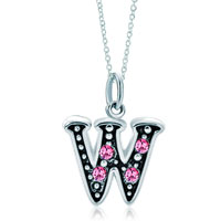 Sterling Silver Jewelry - sterling silver pink crystal letter w link charm pendant necklaces sterling silver pendant Image.