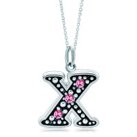 Necklace & Pendants - sterling silver pink crystal letter x link charm pendant necklaces sterling silver pendant Image.