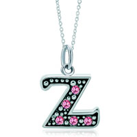 Necklace & Pendants - sterling silver pink crystal letter z link charm pendant necklaces sterling silver pendant Image.