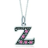 Necklace & Pendants - sterling silver pink crystal letter z link charm pendant necklaces sterling silver pendant Image.
