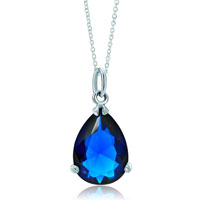 New Year Deals - dangle silver sapphire blue crystal accent drop clasp charm pendant necklace Image.