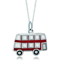 Sterling Silver Jewelry - 925  sterling silver light red cute schoolbus link charm for charms bracelet &  pendant necklace sterling silver pendant Image.