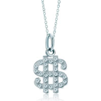 Necklace & Pendants - 925  sterling silver clear white crystal diamond accent dollar link charm for charms bracelet &  pendant necklace sterling silver pendant Image.