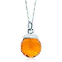 Sterling Silver Jewelry - 925  sterling silver topaz yellow crystal diamond accent link charm for charms bracelet &  pendant necklace sterling silver pendant Image.