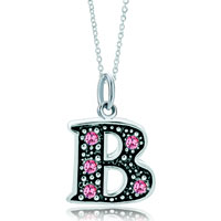 Necklace & Pendants - 925  sterling silver rose pink crystal diamond accent letter b link charm for charms bracelet &  pendant necklace sterling silver pendant Image.