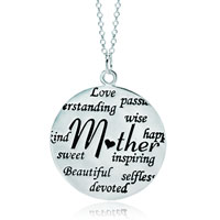 "Sterling Silver - 925  sterling silver love mom circle graffiti message necklace 18""   pendant Image."