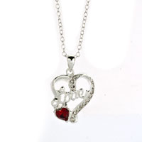 "Necklace & Pendants - silver tone heart love light red crystal pendant necklace  18"" Image."