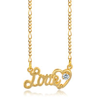 Necklace & Pendants - 18 k gold plated heart love clear crystal chunky link chain pendant nacklace Image.