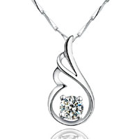 Necklace & Pendants - angle wings swarovski elements crystal 925 sterling silver pendant necklace Image.