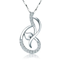 Necklaces - womens fashion gorgeous crystal heart necklace pendant chain jewelry ladies sterling silver pendant Image.