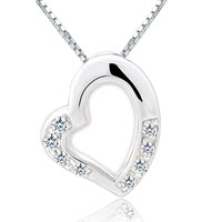 Necklaces - open heart necklace clear white swarovski elements crystal 925 sterling silver pendant Image.
