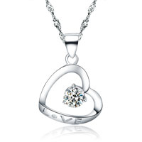 Necklaces - womens 925  sterling silver heart love crystal dangle pendant necklace new sterling silver pendant Image.