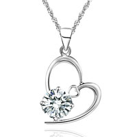 Necklaces - fashion womens 925  sterling silver heart pendant chain crystal necklace gift sterling silver pendant Image.