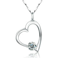 Necklaces - 925  sterling silver crystal heart dangle pendant necklace womens hot sterling silver pendant Image.