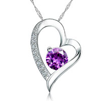 Sterling Silver - asscher cut cubic zirconia cz purple diamond accent sterling silver open heart pendant necklace sterling silver pendant Image.