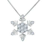 Necklaces - 925 sterling silver diamond accent winter snowflake pendant necklace 18 Image.