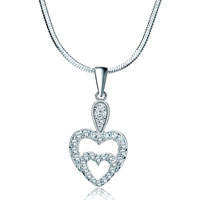 Necklaces - 925 sterling silver diamond accent double open heart love pendant necklace 18 Image.
