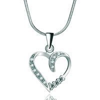 Necklaces - 925 sterling silver diamond accent open heart love pendant necklace 18 Image.