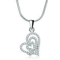 Necklaces - 925 sterling silver diamond accent open hearts overlap love pendant necklace 18 Image.