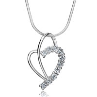 Necklaces - 925 sterling silver diamond accent dangle open heart love pendent necklace 18 pendant Image.