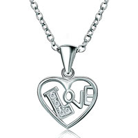 Necklaces - 925 sterling silver diamond accent open heart love pendant necklace 18 gift Image.