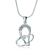Necklaces - 925 sterling silver diamond accent double open hearts love pendant necklace 18 Image.