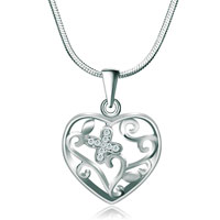 Necklaces - 925 sterling silver diamond accent open heart flower love pendant necklace 18 Image.