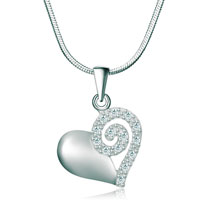 Necklaces - 925 sterling silver clear swarovski crystal heart love pendant necklace 18 Image.
