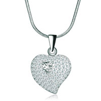 Necklaces - 925 sterling silver diamond accent clear swarovski crystal heart love pendant necklace 18 Image.