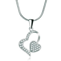 Necklaces - 925 sterling silver diamond accent double heart love pendant necklace 18 Image.