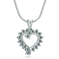 Necklaces - 925 sterling silver diamond accent open heart clear swarovski crystal love pendant necklace 18 Image.