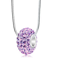 Sterling Silver - birthstone amethyst purple swarovski crystals shamballa ball bead 925 sterling silver core charm bracelet & pendant necklace Image.